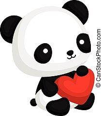 coeur, panda, oreiller