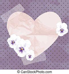 coeur, papier, bannière, vendange