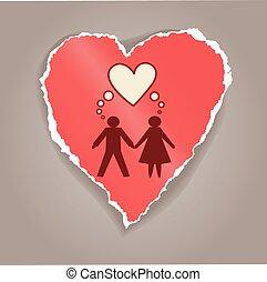 coeur papier, femme, silhouette, homme