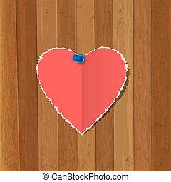 coeur papier, fond, bois, goupillé, déchiré