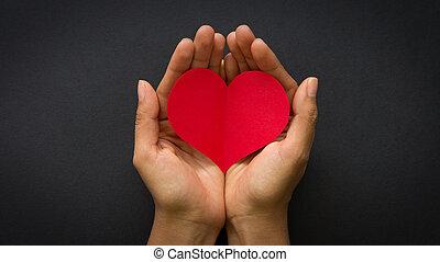 coeur, papier, rouges, tenant main