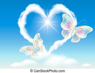 coeur, papillons, nuage ciel