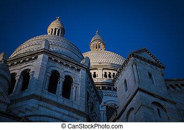 coeur, parís francia, catedral, sacre, noche