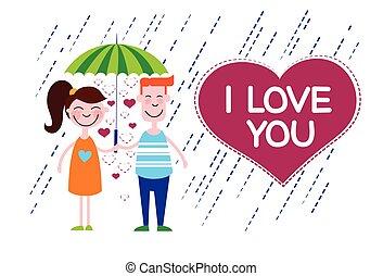 coeur, parapluie, couple, forme, sous, amour