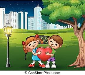 coeur, parc ville, couples, forme, tenue, rouges