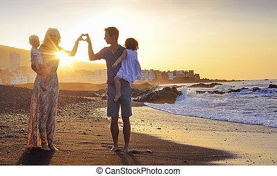 coeur, parents, jeune, confection, signe