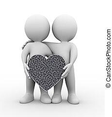 coeur, partenaires, puzzle, tenue, labyrinthe, 3d