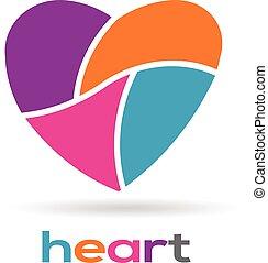 coeur, parties, illustration, logo, vecteur, design.