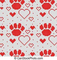 coeur, patte, modèle, seamless, chien, tricoté, arrière-plan.