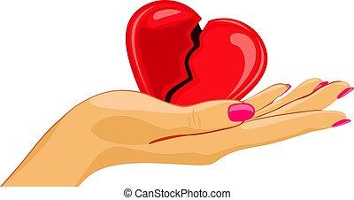 coeur, paume, femme, cassé