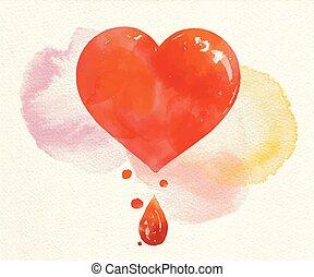 coeur, peint, élément, aquarelle, vecteur, rouges