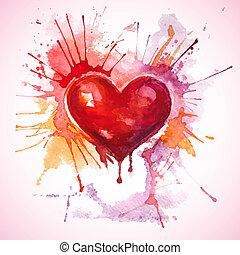 coeur, peint, main, aquarelle, dessiné, rouges