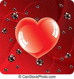 coeur, perles, résumé, vecteur, fond, brillant, rouges