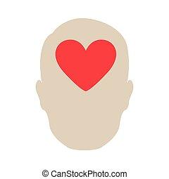 coeur, personne, cerveau, icône