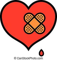 coeur, peu, bande, aide, blessé, icône