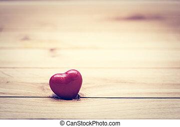 coeur, peu, concept, valentine, amour, wood., vendange, jour, rouges