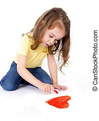 coeur, peu, doux, artistique, girl, peinture, rouges, doigt