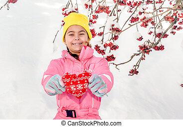 coeur, peu, fait, tenue, neige, textile, fond, girl