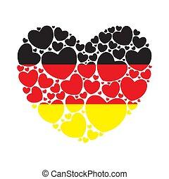 coeur, peu, forme, drapeau, allemagne, hearts., rempli