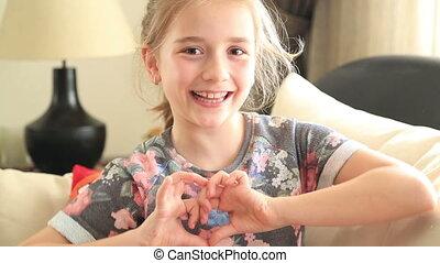 coeur, peu, symbole, girl, confection