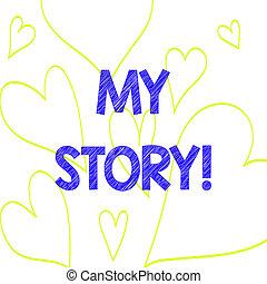 coeur, photo, actions, signe, passé, story., dehors, ou, ...