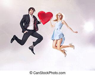 coeur, photo, couple, gai, tenue, amende