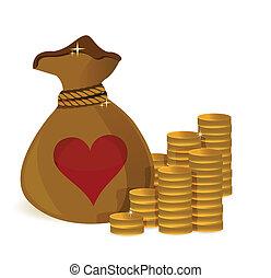 coeur, pièces, sac, argent