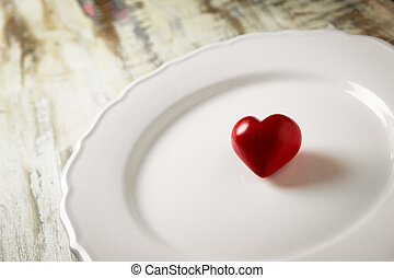 coeur, pierre, blanc rouge, plaque