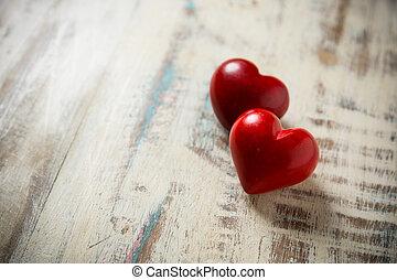 coeur, pierre, deux, rouges