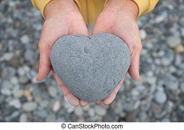 coeur, pierre, formé, /, tenant mains