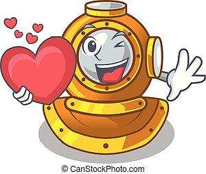 coeur, placard, casque, caractère, forme, plongée