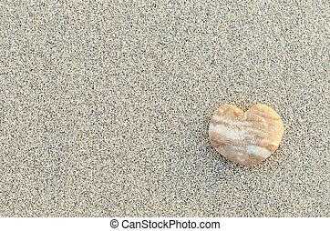 coeur, plage caillou, formé