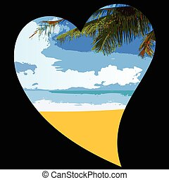 coeur, plage, illustration