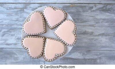 coeur, plaque, cookies., formé