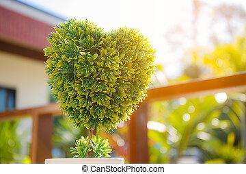 coeur, plastique, arbre, formé