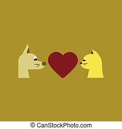 coeur, plat, chien, chat, fond, icône