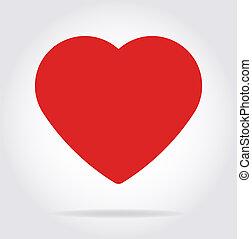 coeur, plat, ombre, style., rouges, icône