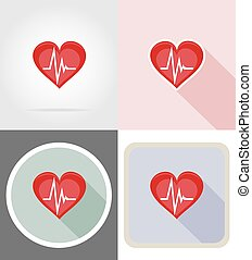coeur, plat, sain, symbole, icônes, illustration, vecteur