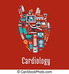 coeur, plat, symbole, silhouette, cardiologie