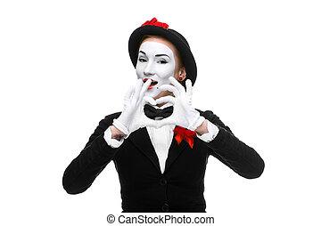 coeur, plié, forme, mime, mains, portrait