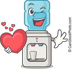 coeur, plus frais, plastique, bouteille eau, dessin animé