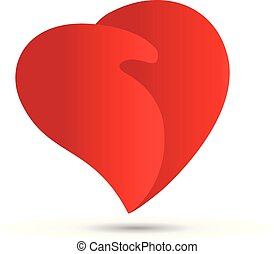 coeur, poignée main, amour, logo