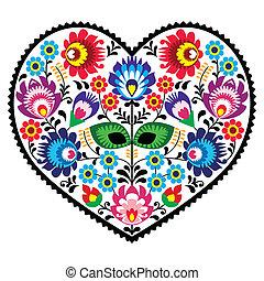 coeur, polonais, art, folklorique, modèle