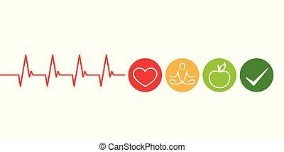 coeur, pomme, style de vie, sain, yoga, cardiologie, concept, vert
