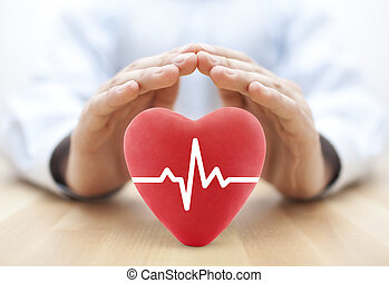 coeur, pouls, couvert, par, hands., assurance maladie, concept