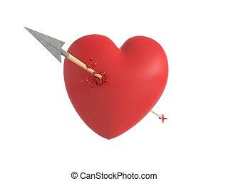 coeur, premier amour, vue, frappé