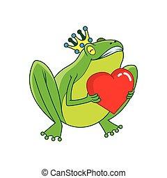 coeur, prince, grenouille