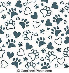 coeur, prints., patte, modèle, animal, seamless, fond, empreinte