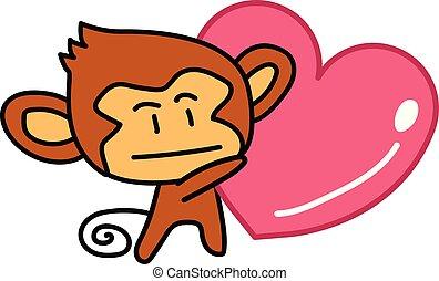 coeur, prise, singe, main, dessiné