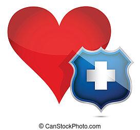 coeur, protégé, santé, illustration